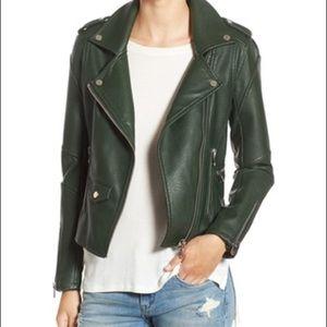 Blank NYC Green Vegan Leather Moto Jacket